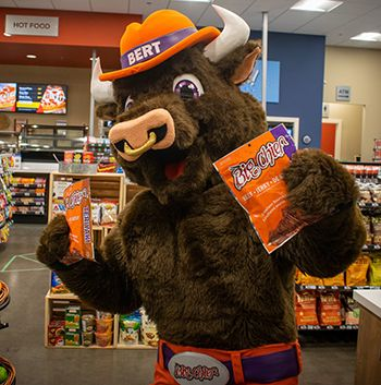 Bert the Bull showing support for convenience stores (pre pandemic)